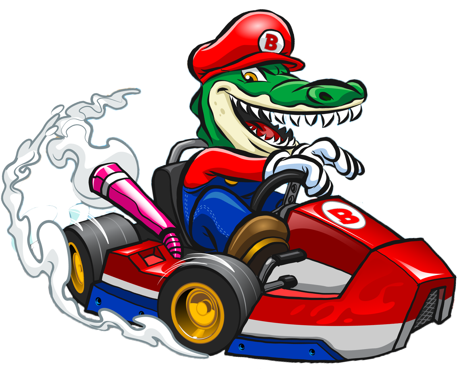 Al Gator the Florida gator racing on an electric go kart.