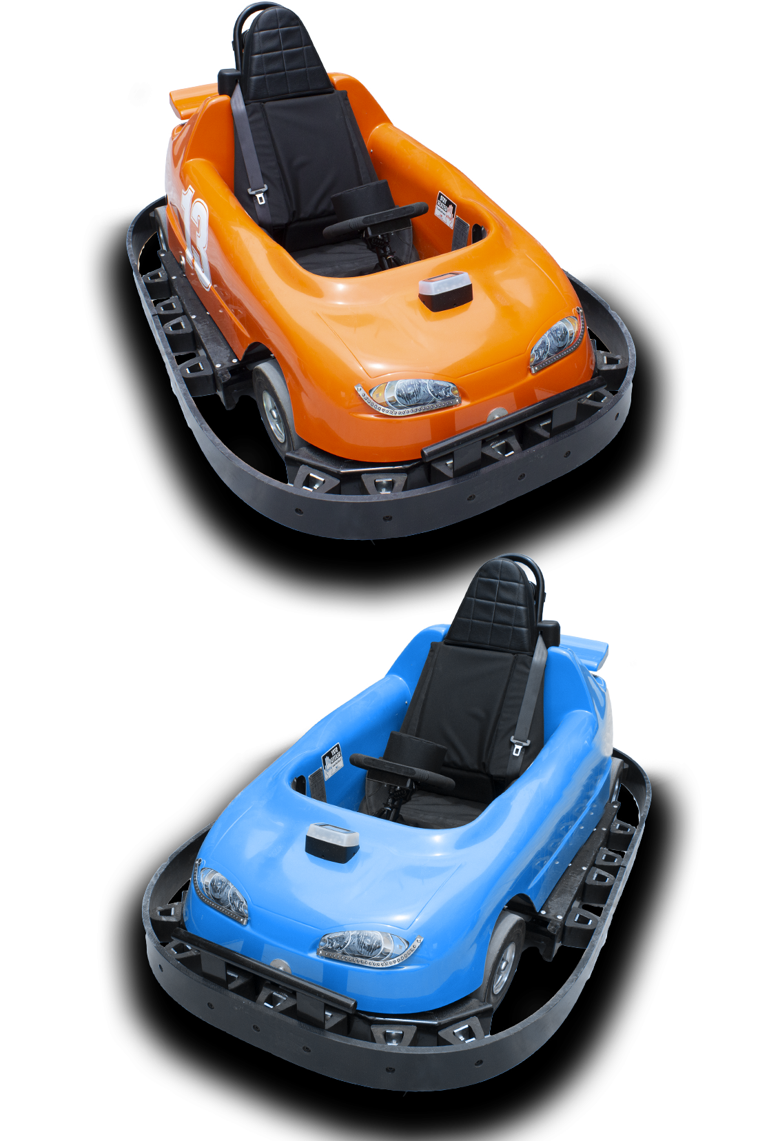 Our go karts for racing in blue and orange